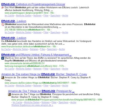 Suche bei Google nach Effektivität