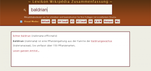 Lexisum Wikipedia Suche - Screenshot